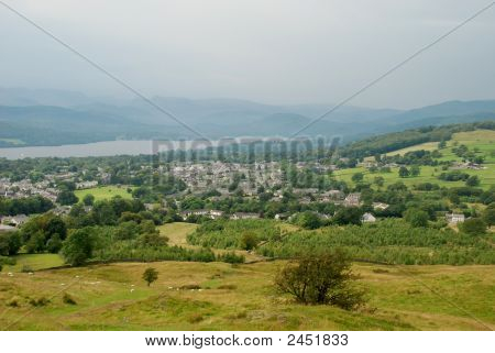 Panorama Overlook Of Town Of Windermere, Cumbria, England