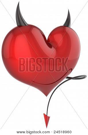 Devil heart red with black sharp horns