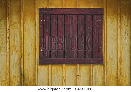 Aged Window On With Wooden Wall
