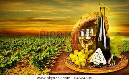 Wine And Cheese Romantic Dinner Outdoor