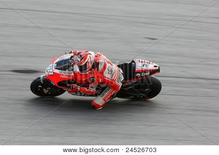 SEPANG, MALAYSIA - OCTOBER 21: MotoGP rider Nicky Hayden tests his bike during the free practice session at the Shell Advance Malaysian Motorcycle GP 2011 on October 21, 2011 at Sepang, Malaysia.