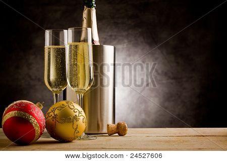 Champagner with Christmas Balls