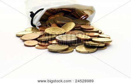 White Money Bag Of Euro Coins