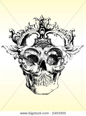 Twisted Skull Vector Illustration