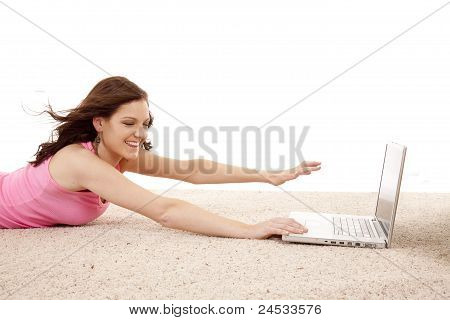 Woman Blown From Computer Reach