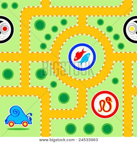 Seamless kids snail-car road pattern with funny signs