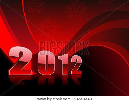 abstract red wave, snowflakes background with 2012 for happy new year