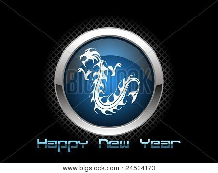 abstract black background with isolated dragon icon for 2012