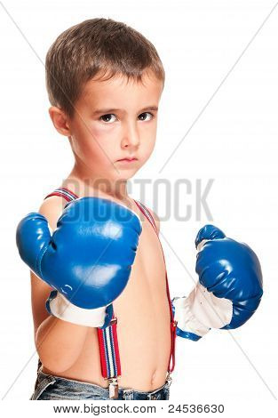 Little Bully Boy With Black Eye In Boxing Gloves Fighting Stance
