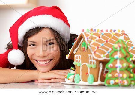 Christmas Santa Woman And Gingerbread House