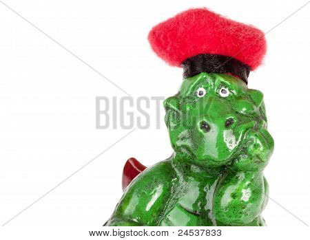 Statuette Of Funny Dragon In Red Hat