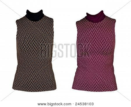 Collage Of Two Women's Vest With A Geometric Pattern