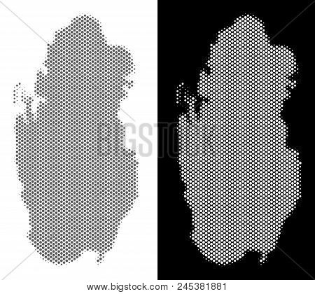 Halftone Circle Spot Qatar Map. Vector Territory Maps In Gray And ...