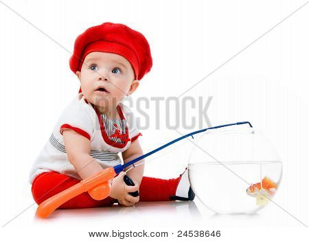 Cute little baby fishing