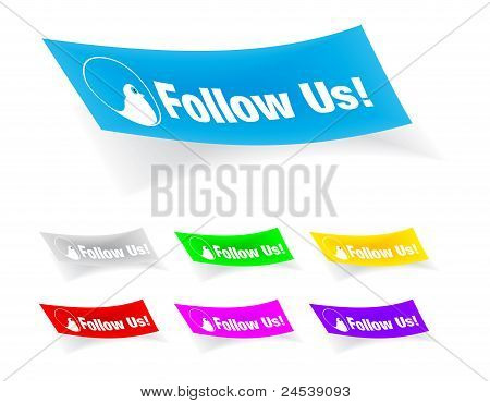 follow us,stickers