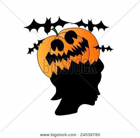 Woman Head With Pumpkin On It, Halloween Concept