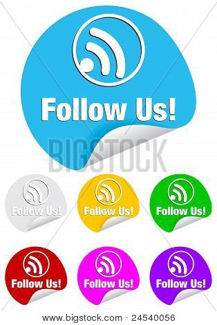 follow us,round stickers