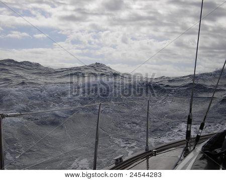 Sailing in rough sea