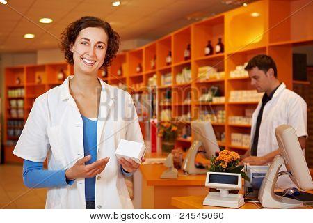 Happy Pharmacist Recommending Drug