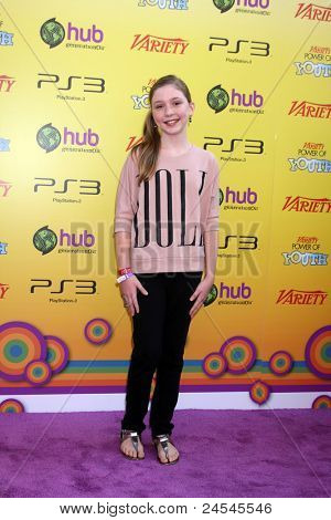 LOS ANGELES - OCT 22:  Cozi Zuehlsdorff arriving at the 2011 Variety Power of Youth Evemt at the Paramount Studios on October 22, 2011 in Los Angeles, CA