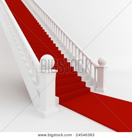 3D Illustration of Stairs Covered with Red Carpet