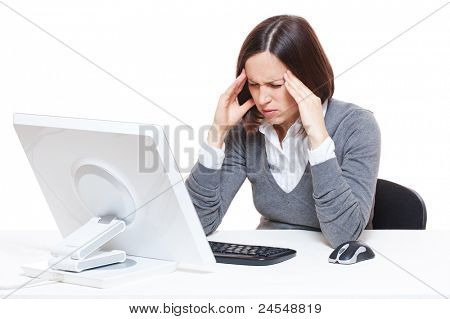 sad businesswoman have a headache