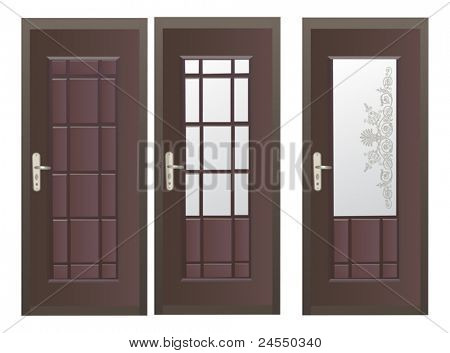 illustration with three dark doors isolated on white background