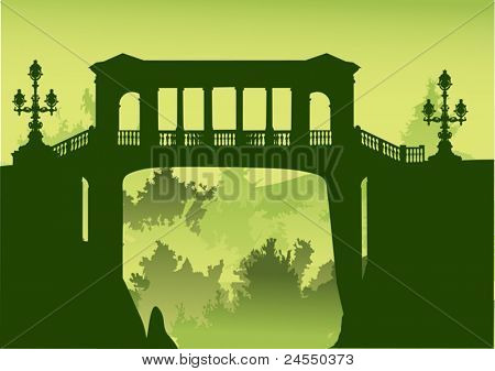 illustration with bridge above precipice with green forest