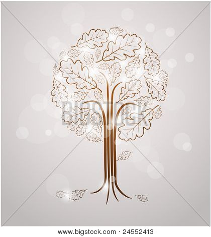 Vintage abstract tree drawing made from oak leafs and white lights