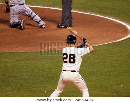 Giants Batter Buster Posey Stands In The On Deck Circle Holding Bat