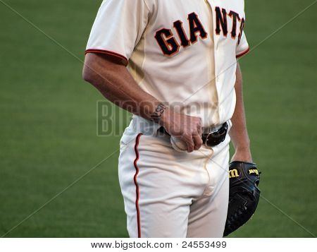 Close-up Of Giants Brian Wilson Hand Holding A Baseball