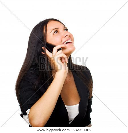 Business Woman With Mobile Phone Over White Background