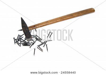 Hammer Nails On White Background