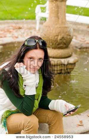 Autumn Park Bench Young Woman Hold Phone