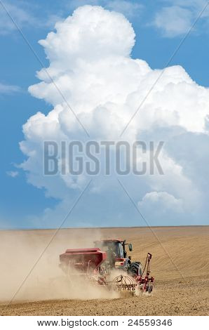 Tractor working in the field.