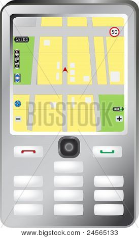 smartphone with navigation map