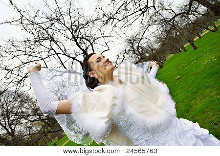 Beautiful Bride With Veil In Wedding Walk