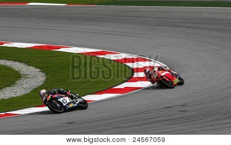 SEPANG, MALAYSIA - OCTOBER 22: Moto2 rider Aleix Espargaro (40) competes at the qualifying race of the Shell Advance Malaysian Motorcycle Grand Prix 2011 on October 22, 2011 at Sepang, Malaysia.