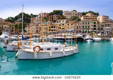 Puerto de Soller Port of Mallorca with lllaut boats in balearic island
