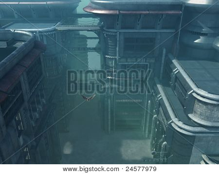 düstere futuristische Stadtbild