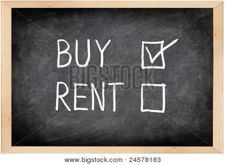Buy not rent blackboard concept. Choosing buying over renting.