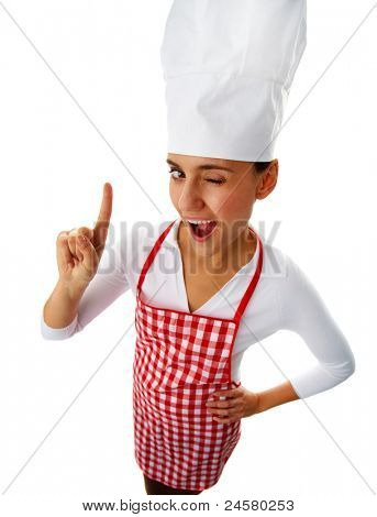 Portrait of happy female chef winking to you and keeping her forefinger raised