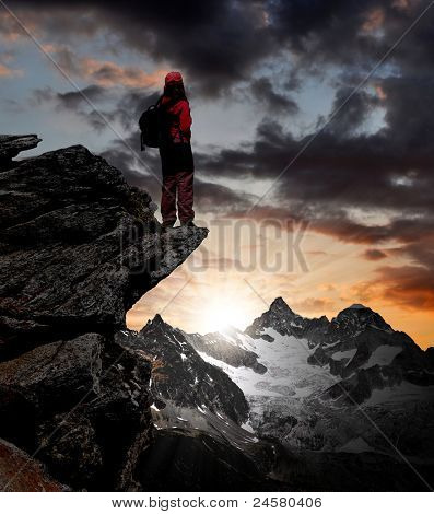 girl looking at the beautiful Mount Ober Gabelhorn in the Swiss Alps