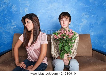 Innocent Man With Flower Bouquet
