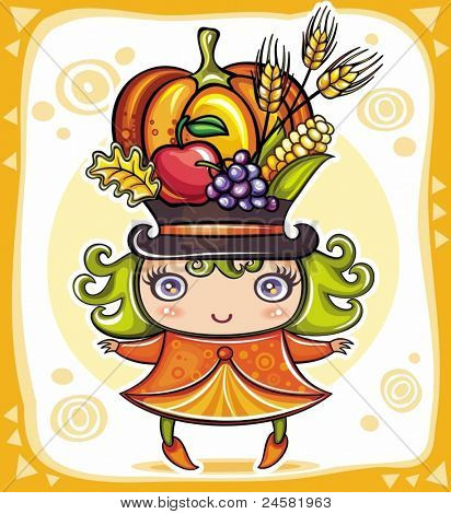 Happy cute girl wearing Harvest hat full of colorful fruits and vegetables, celebrating Thanksgiving.