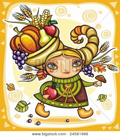 Thanksgiving holiday theme 6: Happy cute girl wearing Cornucopia hat full of colorful fruits and vegetables, celebrating harvest festival.