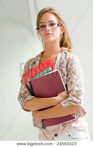 Cute Young Blond Student Girl.