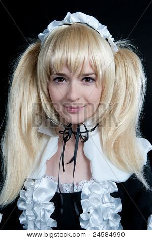 Portrait Of Young Girl In Anime Lolita Suit