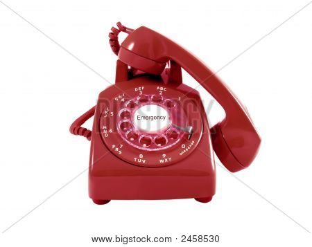 A Red Retro Rotary Phone