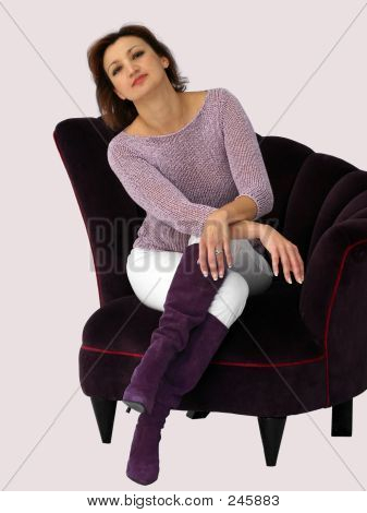 Woman In A Purple Chair 4